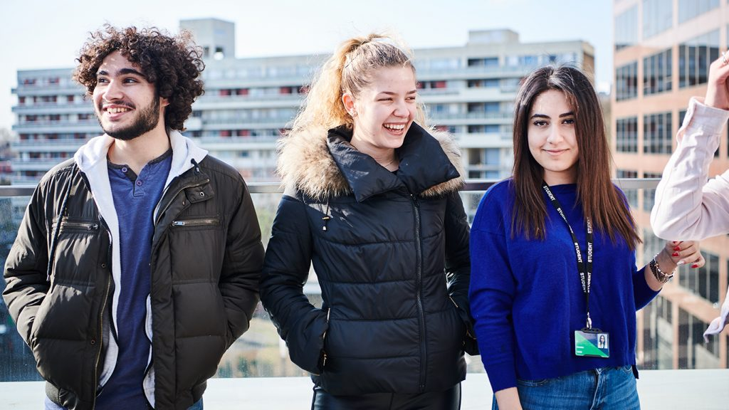 Students on DLD College London balcony