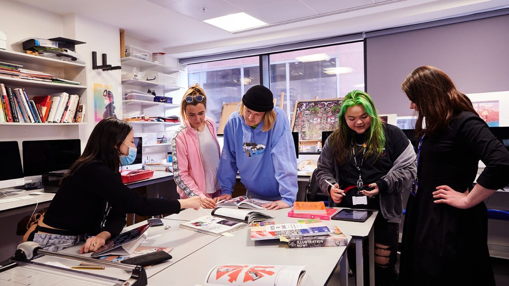 DLD College London Students And Teacher In Art Class